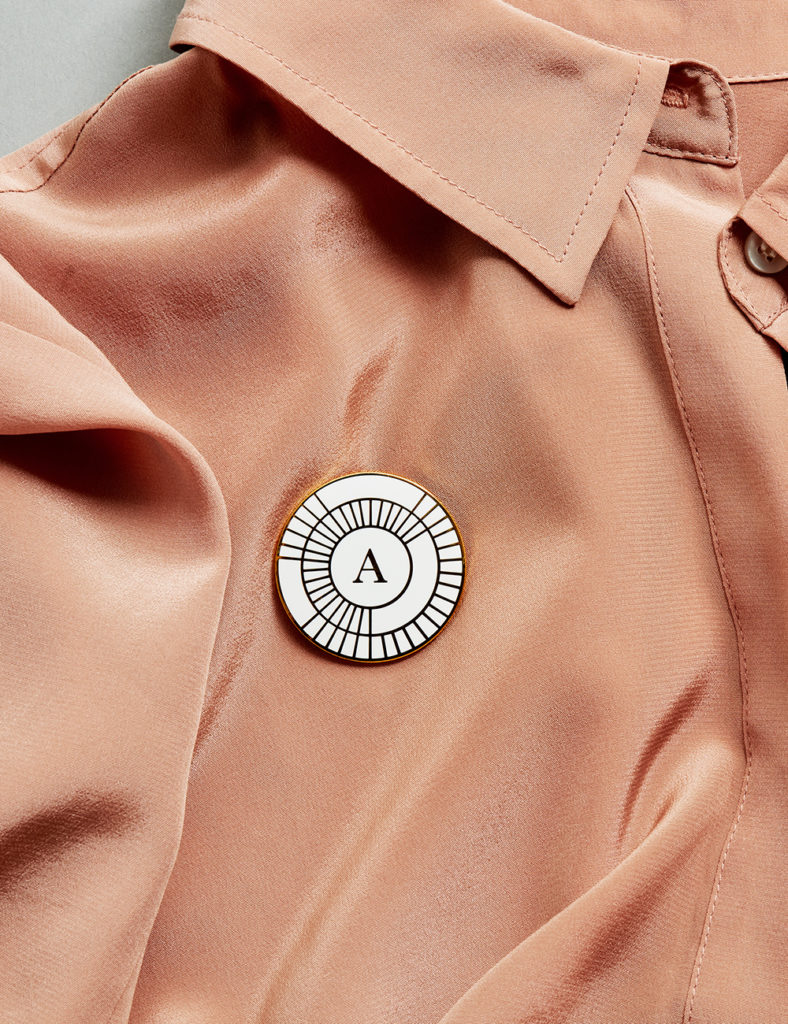 Alida lapel pin on shirt