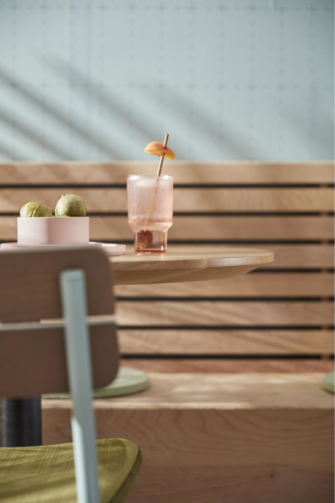 Cocktail on a table with chair