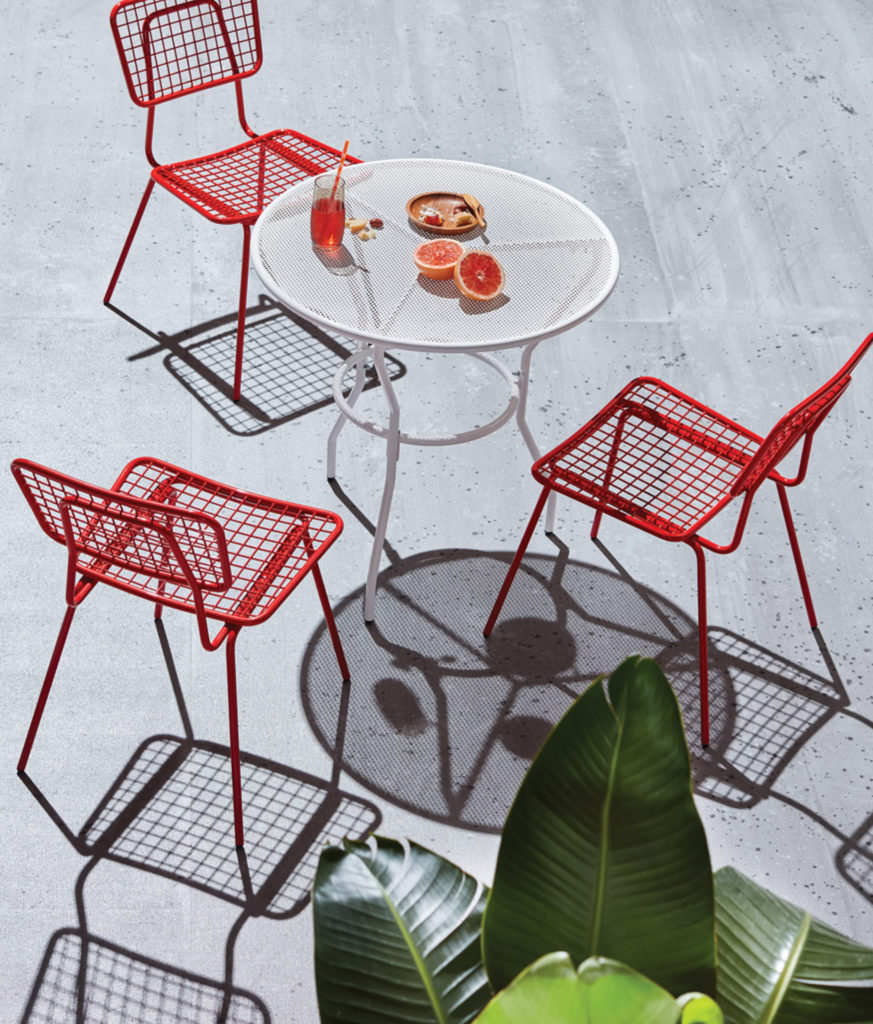 Outdoor furniture and fruits
