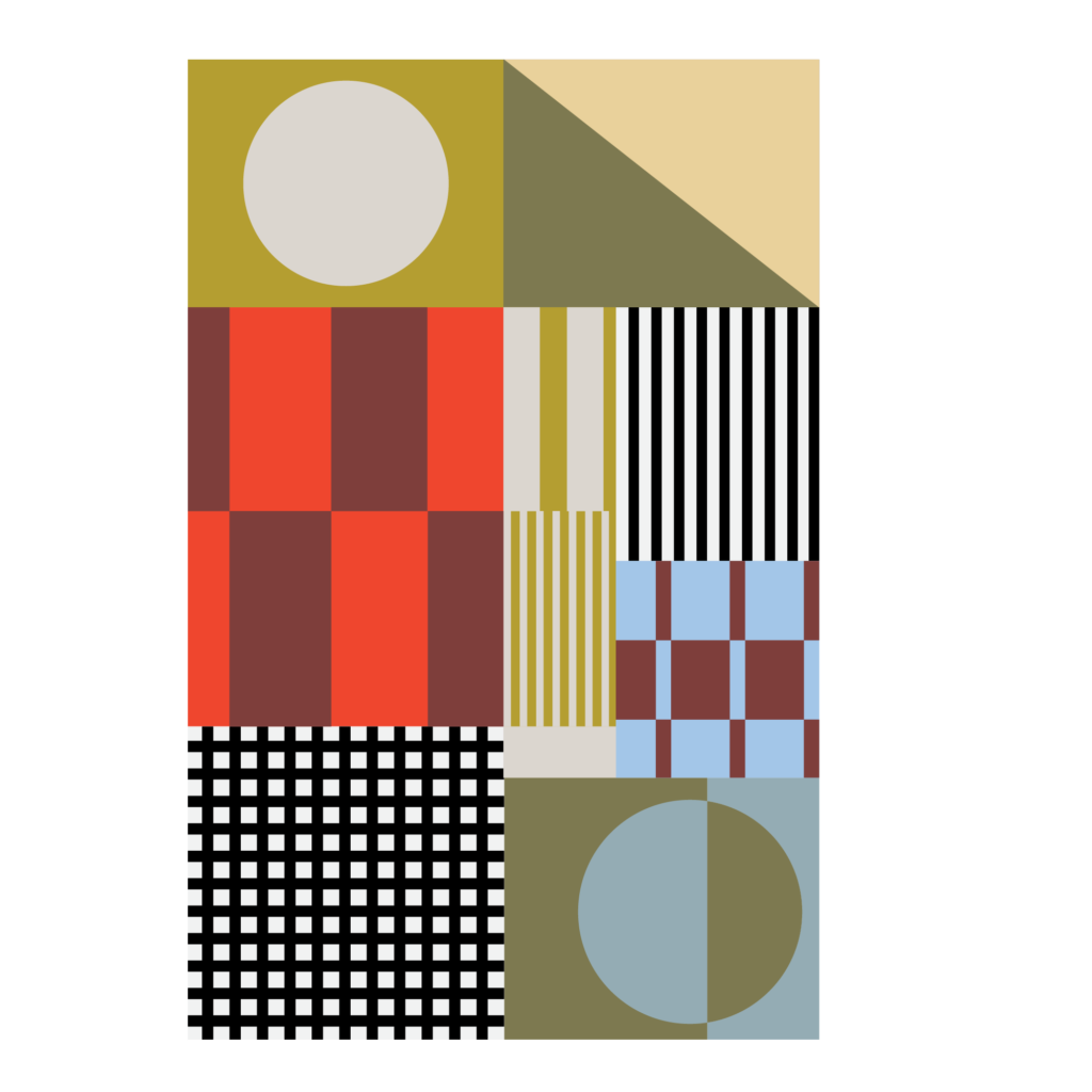 patchwork colorful geometric shapes