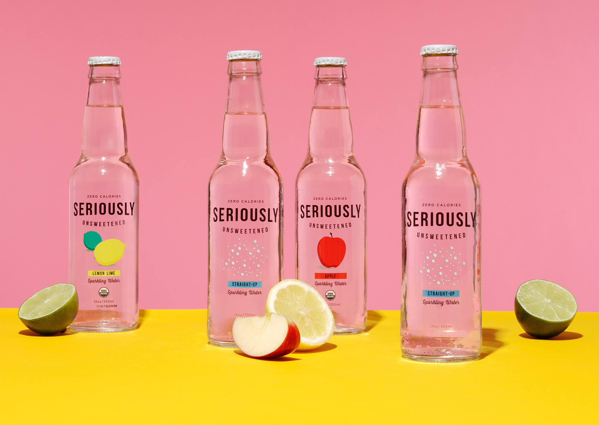 bottles of Seriously Unsweetened seltzer