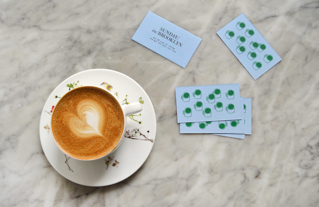 A latte and Sunday in Brooklyn coffee cards