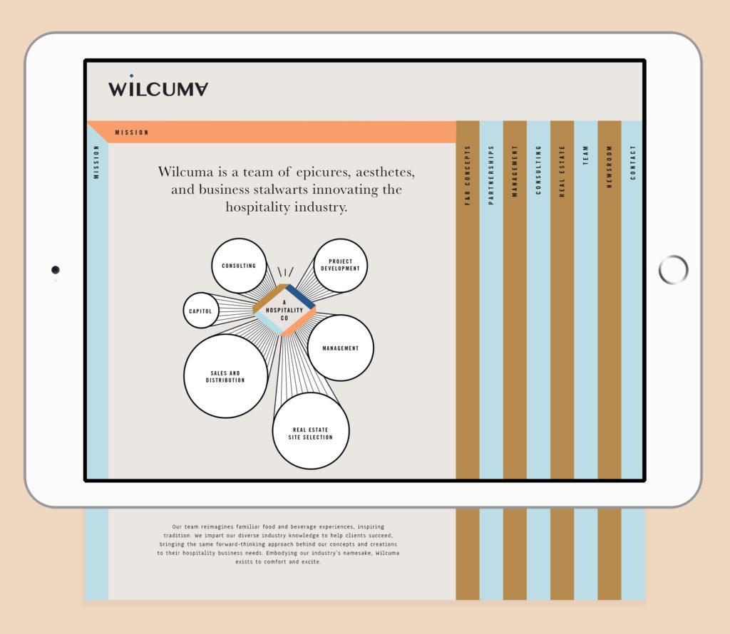 Tablet mock-up of Wilcuma website