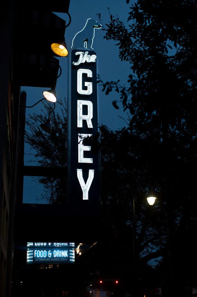 The Grey restaurant neon signage
